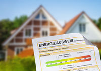Energy performance certificate in front of a house