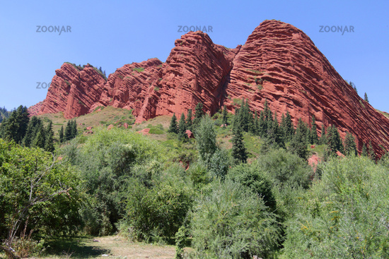 Rock formation Seven Bulls, Jety Oguz Valley, Terskej Alatoo Mountains, Kyrgyzstan