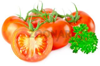 Fresh ripe tomatoes and parsley