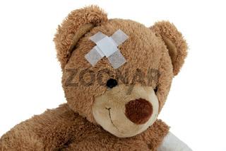 Bär mit Verband nach einem Unfall