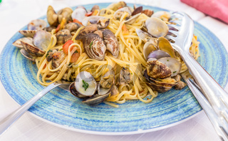 Real Spaghetti alle vongole in Naples, Italy