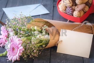 Flower bouquet and a blank label