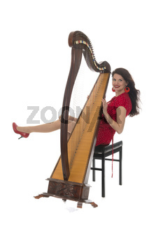 Young woman with harp