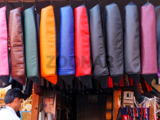 Display of motorbike seat covers at the street market in Jaipur, Rajasthan, India