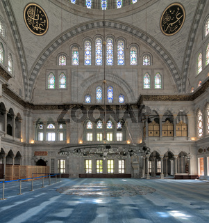Interior of Nuruosmaniye Mosque,  Shemberlitash, Fatih, Istanbul, Turkey