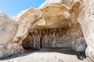 hall in artificial cave of ancient Greek theater