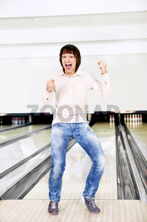 The young man in bowling