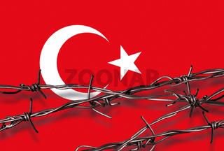 Flagge der Türkei mit Stacheldraht
