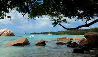 Bay of Latio Beach at Praslin Seychelles