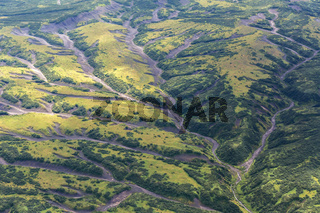 Kronotsky Nature Reserve on Kamchatka Peninsula. View from helicopter.