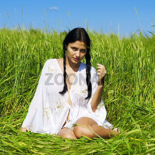Woman at the rye field