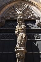Colmar, Madonna statue on the facade of the Collegiate Church Saint-Martin