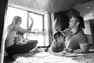 young couple spending time with kids