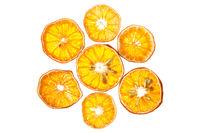 Dry orange slices isolated