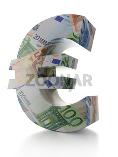 3D rendering of Euro currency symbol wrapped around with euro banknotes over white background