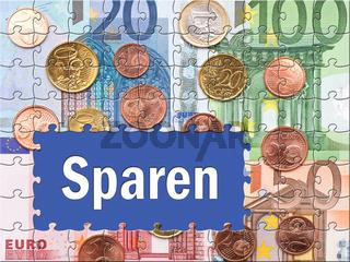 Sparen - Konzept mit Euros