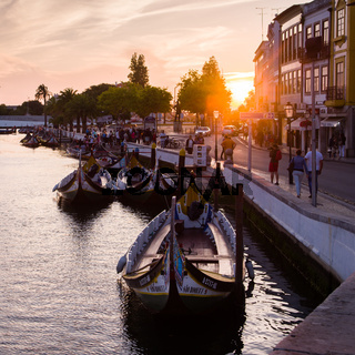 Sunset in the city of Aveiro, Portugal