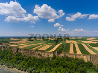 Aerial view of fields on bank of Danube