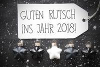 Black Christmas Balls, Snowflakes, Guten Rutsch 2018 Means New Year