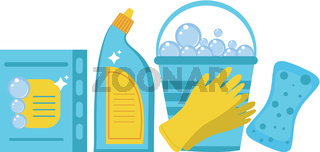 Cleaning supplies, cleaning tools set. Household chemicals. Vector illustration.