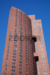 View up Confucius Plaza Apartments tower in Chinatown Manhattan