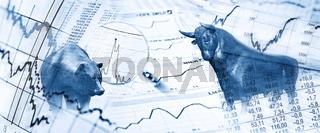 Bulle und Bär und Börsensymbole
