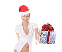 Sexy santa woman holding gift box