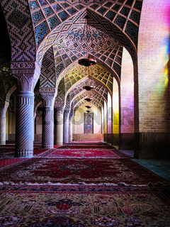 Interior of Nasir ol Molk Mosque, Shiraz, Iran