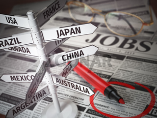 Work and travel immigration opportunity concept. Search for a job. Newspaper with jobs advertisement and signboard with names of countries.
