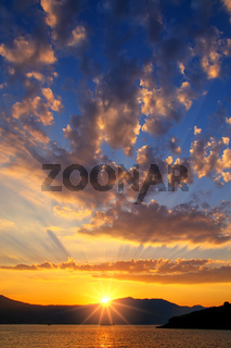 Sunrise over Peljesac Peninsula and Peljeski Strait, Korcula, Croatia.