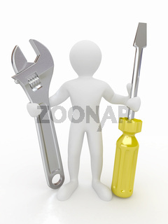 Men with wrench and screwdriver on white isolated background. 3d