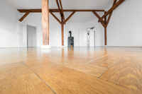 parquet floor closeup in empty penthouse room with fireplace