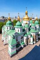 above view of Saint Sophia Cathedral in Kiev