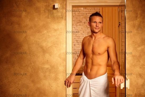 Happy man after sauna