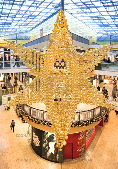 shopping center Thier-Gallerie with christmas decoration, Dortmund, Ruhr Area, Germany