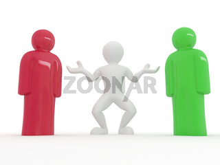 Who do you choose? A man with two statuettes. 3d