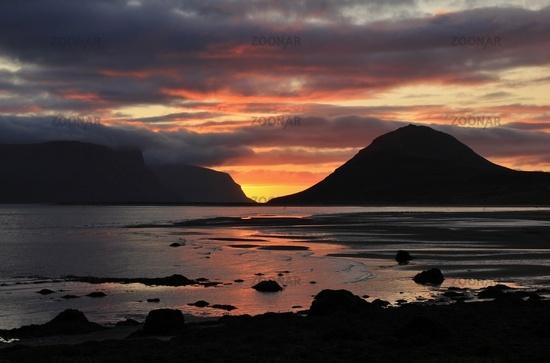 Sunset scene in the Dyrafjoerdur, Iceland.