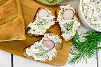 Bread with pate of curd and radish on board top
