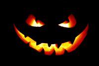 Halloween pumpkin in darkness