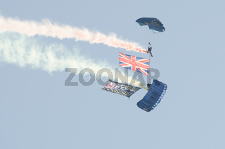 British Army Parachutists above Clacton free airshow