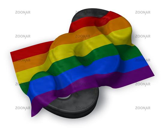 paragraph symbol und gay pride flagge - 3d illustration