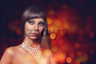Young woman portrait in night city