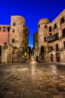 Ancient Roman Gate and Placa Nova in the Morning, Barcelona, Catalonia, Spain
