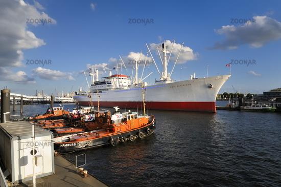 Hamburg, Germany, Harbor with Museum Ships