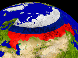 Russia with flag on Earth