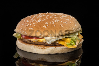 Hamburger On A Black Glass