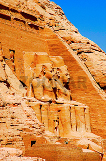 Partial view of two massive rock temples, The twin temples were originally carved out of the mountainside during the reign of Pharaoh Ramesses II