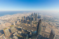Aerial view of Downtown Dubai from Burj Khalifa, Dubai, United Arab Emirates.