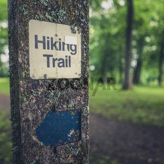 Rustic Hiking Trail Sign