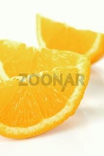 Orange quarters isolated against a white background
